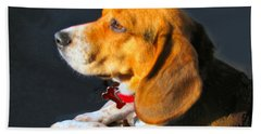 Portrait Of Pebbles - The Independent Beagle Beach Towel