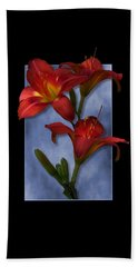 Portrait Of Red Lily Flowers Beach Sheet