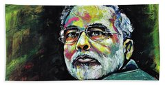 Portrait Of Shri Narendra Modi Beach Towel