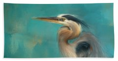 Portrait Of The Heron Beach Towel