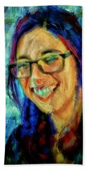 Portrait Painting In Acrylic Paint Of A Young Fresh Girl With Colorful Hair In A Library With Books  Beach Towel