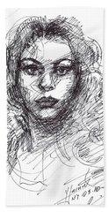 Portrait Sketch  Beach Towel