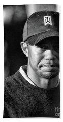 Portrait  Tiger Woods Black White  Beach Towel