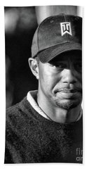Portrait  Tiger Woods Black White  Beach Sheet