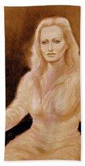 Portrait Woman In Bright Dress Beach Sheet