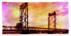 Portsmouth Memorial Bridge Abstract At Sunset Beach Towel