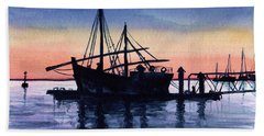 Beach Towel featuring the painting Portuguese Fishing Boat by Dora Hathazi Mendes