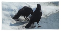 Posing Crows Beach Towel by Betty Pieper