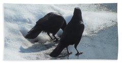 Posing Crows Beach Towel