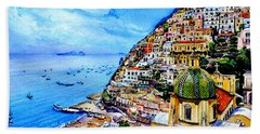 Beach Towel featuring the painting Positano by Hanne Lore Koehler