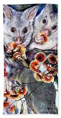 Possum Family Beach Towel