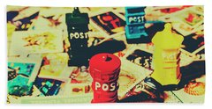 Postage Pop Art Beach Sheet by Jorgo Photography - Wall Art Gallery