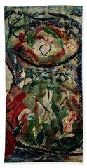 Potpourri Vase With Rose Beach Towel