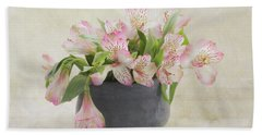 Beach Towel featuring the photograph Pot Of Pink Alstroemeria by Kim Hojnacki