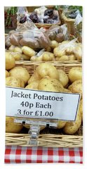 Potatoes At The Market  Beach Towel by Tom Gowanlock