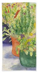 Beach Towel featuring the painting Potted Beauties  by Vicki  Housel
