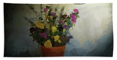 Potted Flowers 2 Beach Sheet