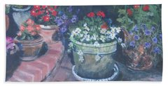 Potted Flowers Beach Towel