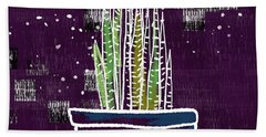 Potted Snake Plant- Art By Linda Woods Beach Towel