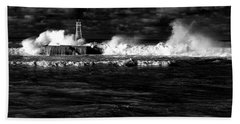 Beach Towel featuring the photograph Pounding The Breakwater by Nareeta Martin