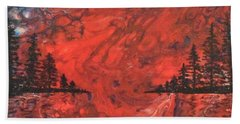 Pour - Red And Pines Beach Towel