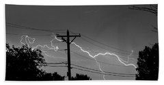 Power Lines Bw Fine Art Photo Print Beach Towel