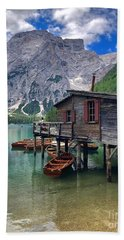 Beach Towel featuring the photograph Pragser Wildsee View by Jacqueline Faust