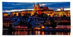 Prague Castle In The Evening Beach Towel
