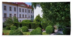 Beach Towel featuring the photograph Prague Courtyards. Regular Style Garden by Jenny Rainbow