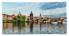 Prague From The River Beach Towel
