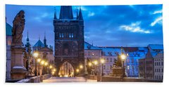 Prague In Blue Beach Sheet by Martin Capek
