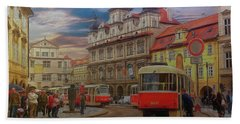 Prague, Old Town, Street Scene Beach Towel