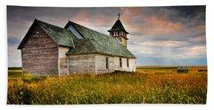 Beach Towel featuring the photograph Prairie Church by Rikk Flohr