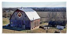 Beach Sheet featuring the photograph Prairie Flower Quilt Barn by Cricket Hackmann