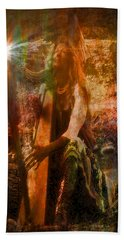 Praise Him With The Harp II Beach Towel by Anastasia Savage Ealy