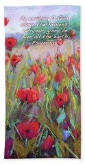 Praising Poppies With Bible Verse Beach Towel