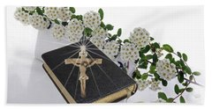 Prayer Book With Flowers Beach Sheet