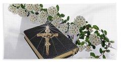 Prayer Book With Flowers Beach Sheet