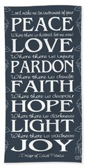 Prayer Of St Francis - Victorian Blue Grey Beach Sheet