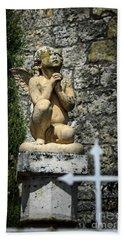 Praying Angel In Auvillar Cemetery Beach Towel by RicardMN Photography