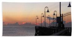 Pre-sunrise On Daytona Beach Pier   Beach Towel