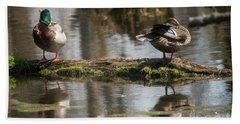 Beach Towel featuring the photograph Preening Ducks by David Bearden