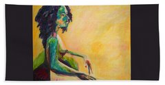 Beach Towel featuring the painting Pregnant Woman In Yellow by Esther Newman-Cohen