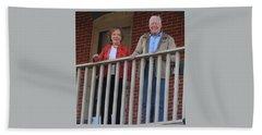 President And Mrs Carter On Plains Inn Balcony Beach Towel