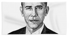 President Barack Obama Graphic Black And White Beach Towel by War Is Hell Store