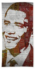 President Barack Obama Portrait United States License Plates Beach Towel by Design Turnpike