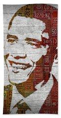 President Barack Obama Portrait United States License Plates Beach Sheet by Design Turnpike