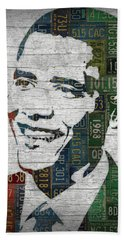 President Barack Obama Portrait United States License Plates Edition Two Beach Sheet by Design Turnpike