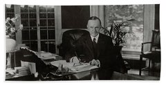 Beach Towel featuring the painting President Calvin Coolidge by Artistic Panda