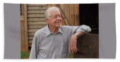 President Carter At His Boyhood Farm Beach Sheet by Jerry Battle